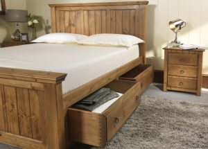 Handmade Wooden Bed with Storage Drawers and 3 Door Bedside Cabinet