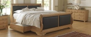 Oak Sleigh Bed with Storage Drawer and Oak Bedroom Furniture