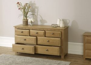 Solid Oak 7 Drawer Chest with Drawers Open