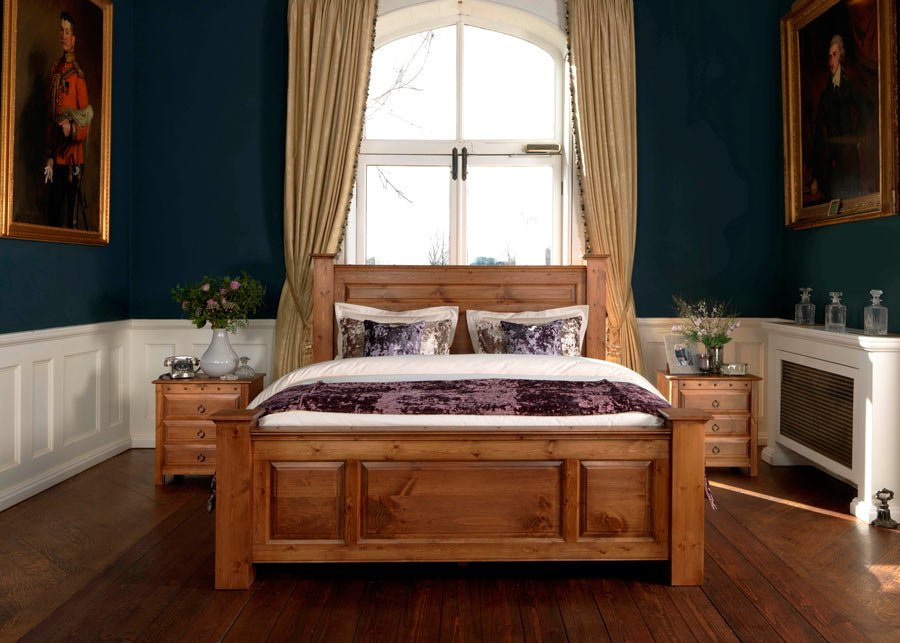 Large Traditional Bed Handmade from Solid Wood