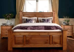 Wooden Handcrafted Bed with Faux Velvet Cushions and Throws