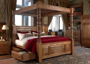 4 Poster Bed with Open Drawer Underbed Storage