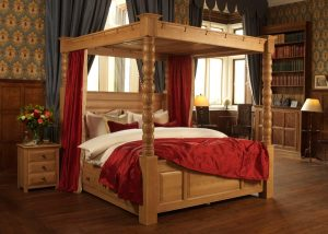 Solid Oak Four Poster Bed with Bedside Cabinet