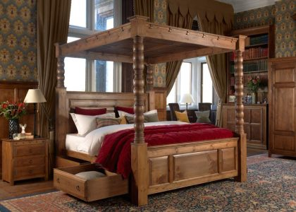Solid Wood Four Poster Bed with Storage Drawers