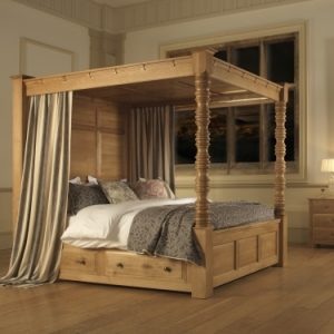 Traditional Oak Four Poster Bed with Canopy and Storage Drawers