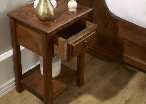 Solid Wood Bedside Table with Open Drawer