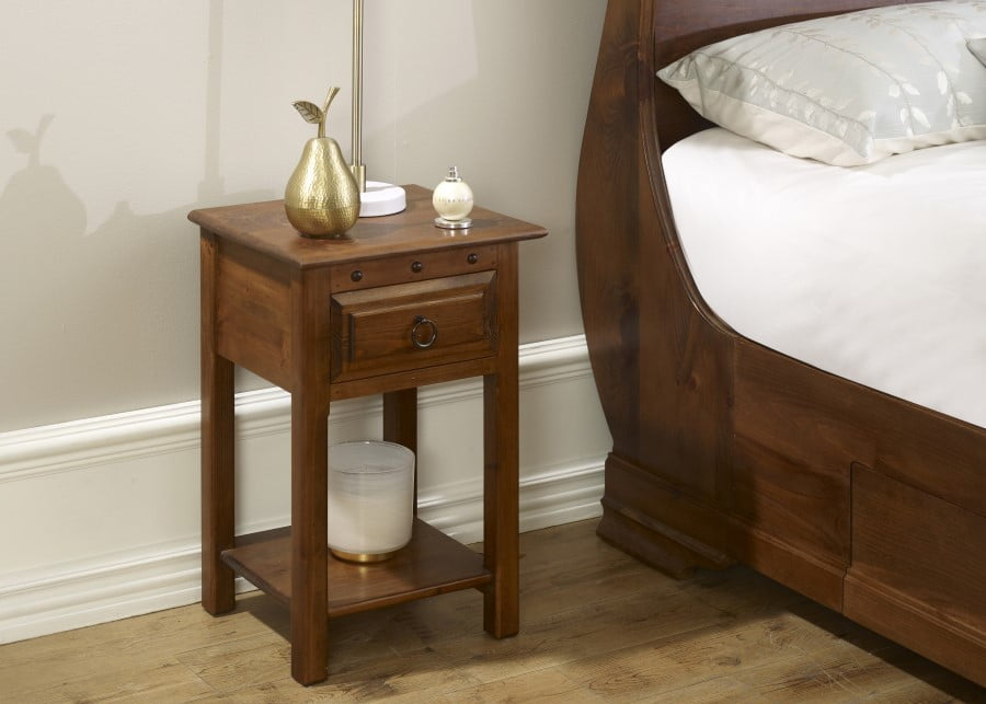 Solid Wood Bedside Table with Drawer