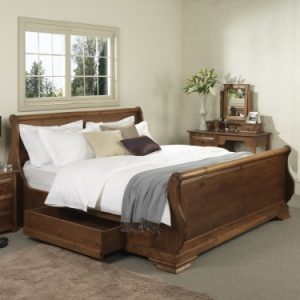 Wooden Sleigh Bed with Storage Drawers
