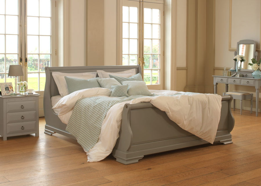 Handmade Painted Super Kingsize Sleigh Bed