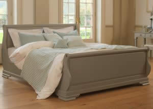 Grey Painted Traditional Sleigh Bed with Mint Green Cushions and Runner