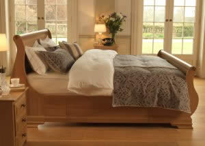 Oak High Foot Sleigh Bed with Storage and Oak 3 Drawer Bedside