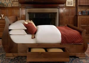 High Sleigh Bed with Storage and Luxury Bedding