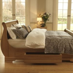 Luxury Solid Oak Sleigh Bed with Storage Drawer