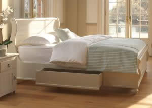 White Painted Sleigh Bed and Underbed Storage Drawers