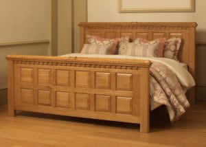 Oak Carved Bed with Pink Luxury Bedding