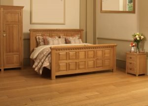 Irish Style Bed in Solid Oak with Bedroom Furniture and Wardrobe