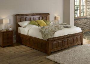 Super Kingsize Wooden Bed with 3 Door Bedside Cabinet