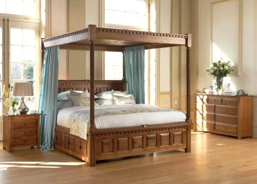 Natural Wood Four Poster Bed with Low Footboard and Bedroom Furniture