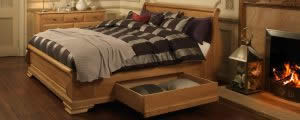Strage Space on Oak Sleigh Bed