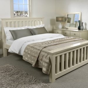 Painted New England Wooden Bed with New England Bedroom Furniture