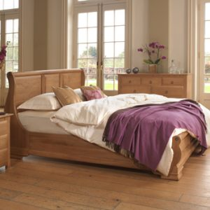 Oak Sleigh Bed with Oak Chest of Drawers