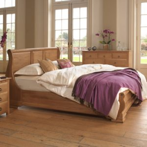 Solid Oak Sleigh Bed