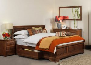 Sleigh Bed Handmade From Natural Wood