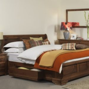 Luxury Solid Wood Sleigh Bed with Storage Drawer