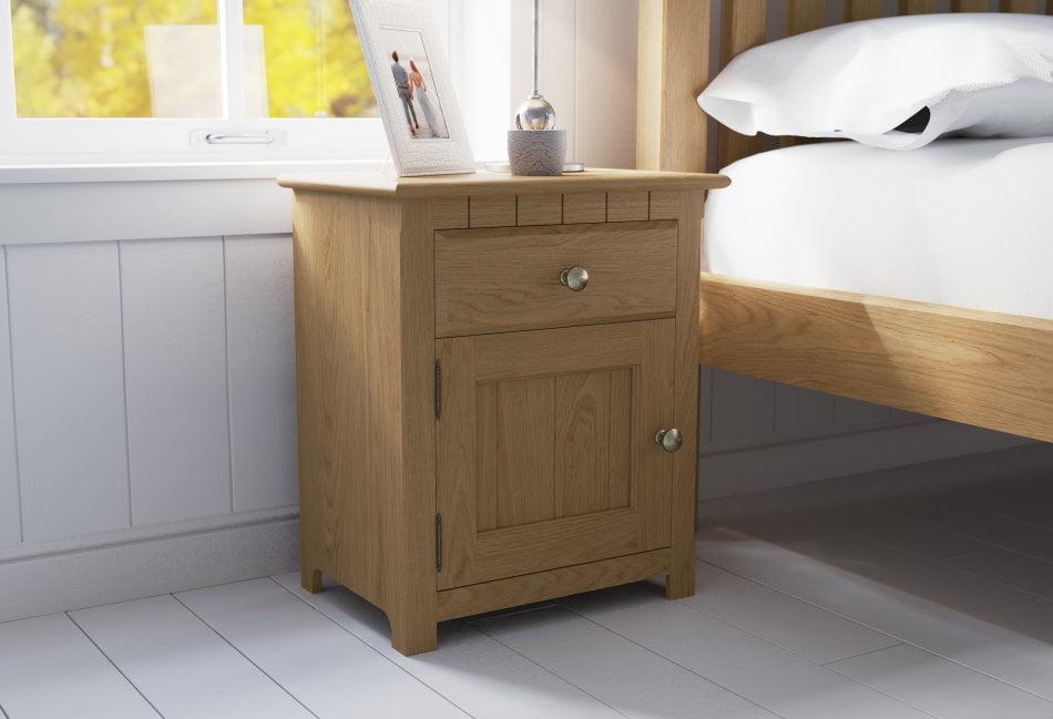 Solid Oak Bedside Cabinet with Door
