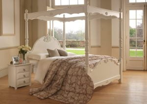 Traditional French Style Painted Four Poster Bed