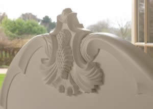 White Detailed Carvings on Headboard