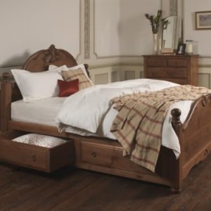 Solid Wood French Bed with Storage Drawers