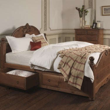 French Wooden Bed Frame with Storage Drawers