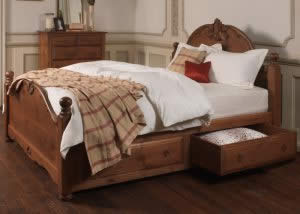 Wooden Hand Carved Bed with Underbed Storage