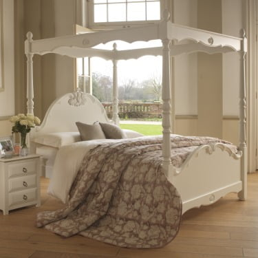 Romantic Painted Four Poster Bed with Open Canopy