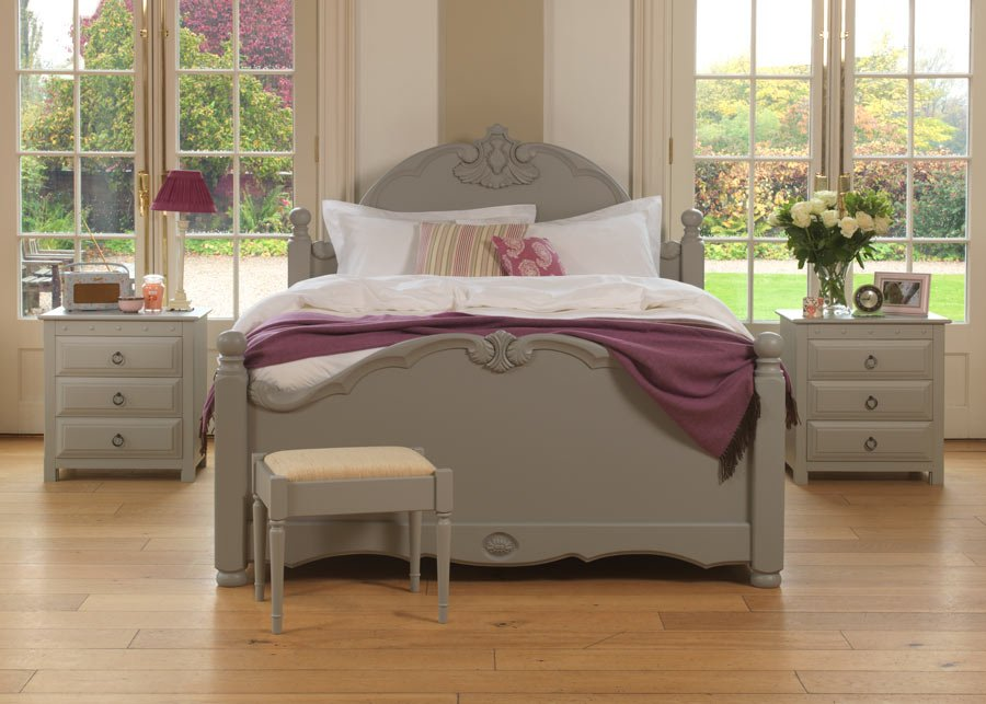 Painted French Style Bed With Bedside Cabinets