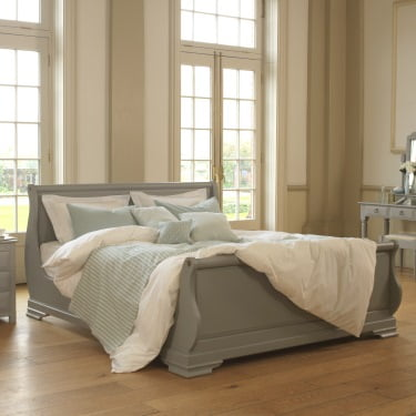 Hand Painted Solid Wood Sleigh Bed