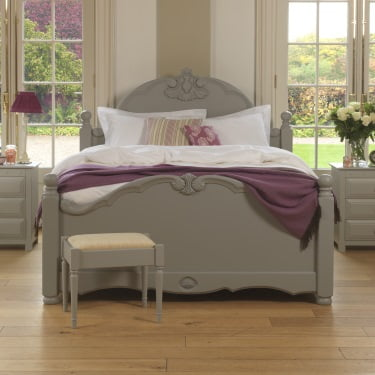 Painted French Style Wooden Bed with Bedside Cabinets and Stool