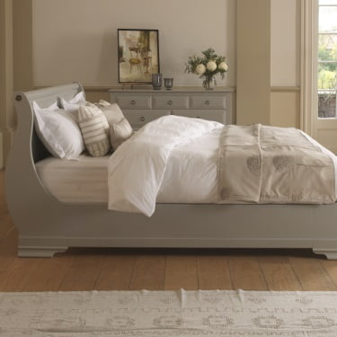 Light Grey Painted Wooden Sleigh Bed with Bedroom Furniture