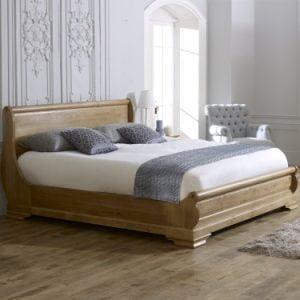 Solid Oak Super King-size Solid Oak Sleigh Bed
