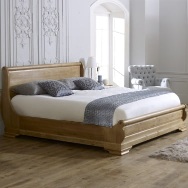 Solid Oak Super King-size Solid Oak Sleigh Bed