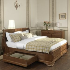 Solid Wood Sleigh Bed with Drawer
