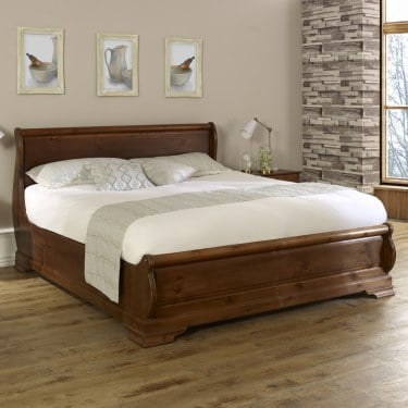 Handcrafted Solid Wood Sleigh Bed