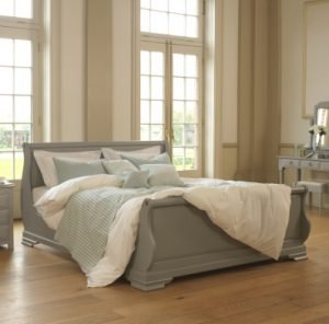 Super Kingsize Painted Grey Sleigh Bed with Bedroom Furniture
