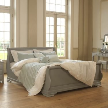 Super Kingsize Painted Grey Sleigh Bed