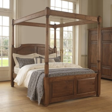 Solid Wood Four Poster Bed with Open Canopy and Wardrobe