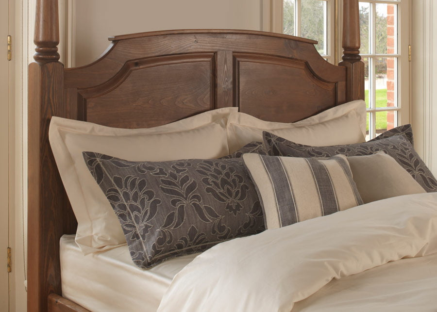 Wooden Four Poster Bed Headboard with Cushions and Pillows