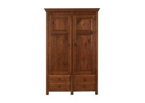 2 Door Solid Wooden Wardrobe with 4 Drawers
