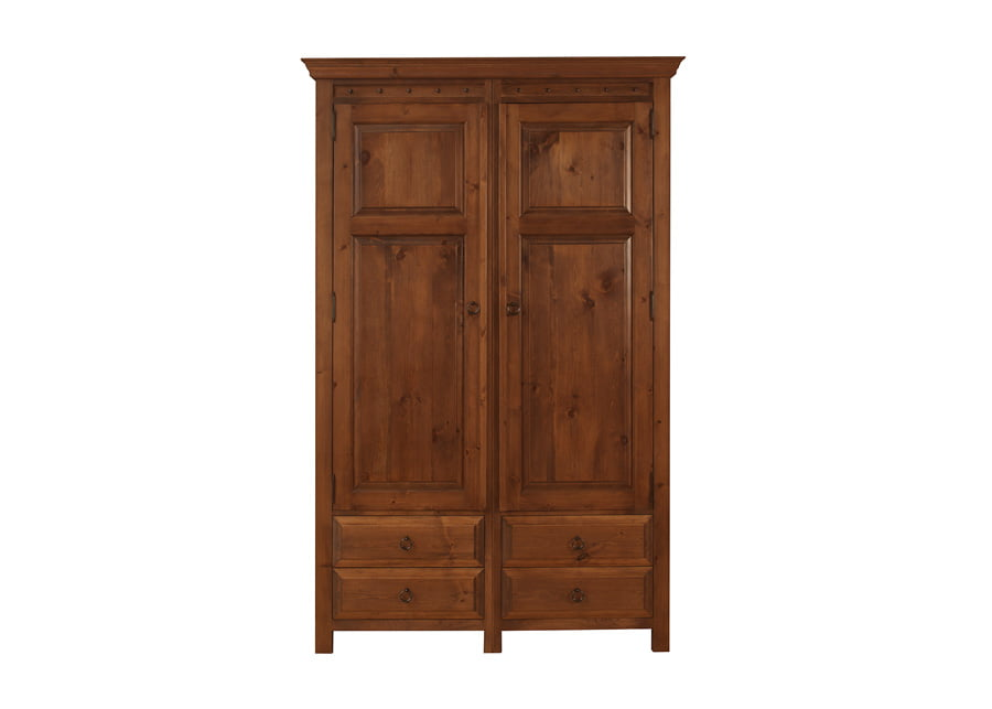 2 Door Solid Wooden Wardrobe with 4 Drawers