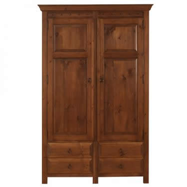2 Door Wooden Wardrobe with 4 Drawers